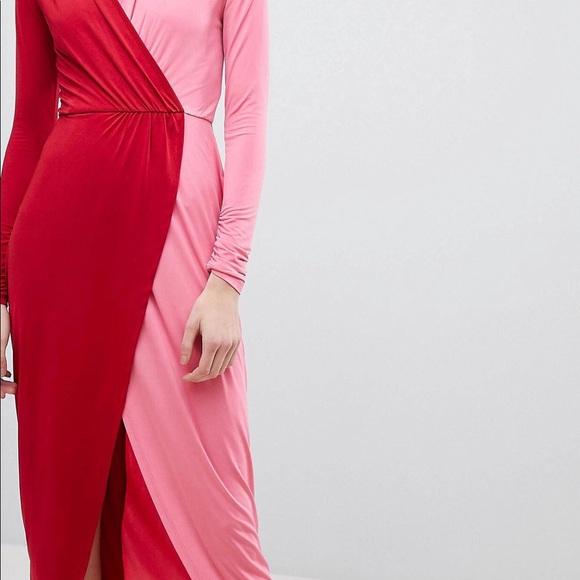 0e62178c780 BNWT ASOS Pink   Red Colorblock Dress ❤️